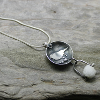 Sterling silver domed bird robin  totem pendant pinned adorned snowball quartz