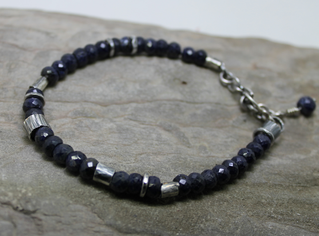 Beautiful natural facetted Sapphire with oxidised sterling silver handmade ooak
