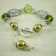 Floral Disc Bracelet With Lime Green Crystals