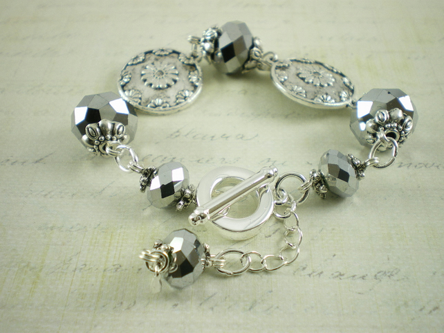 Floral Disc Bracelet With Silver Crystals