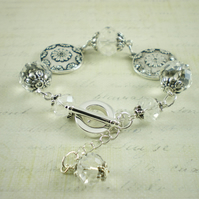 Floral Disc Bracelet With Clear Crystals