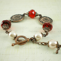 Floral Disc Bracelet With Red Crystals