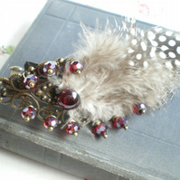 Vintage Style Feather & Garnet Hairclip