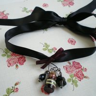 Ribbon Choker Necklace with Bottle Charm