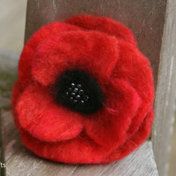 Hand Felted Remembrance Poppy Brooch