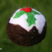 Hand felted Christmas Pudding Bauble