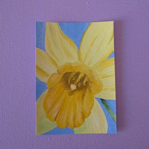 ACEO: original acrylic painting 'Spring Daffodil'