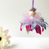 Rainbow Enchanted Flower Fairy, Fairy Decor, Handmade Fairy, Fairy Decoration