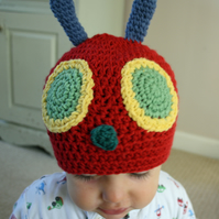Crochet hungry caterpillar hat made to order