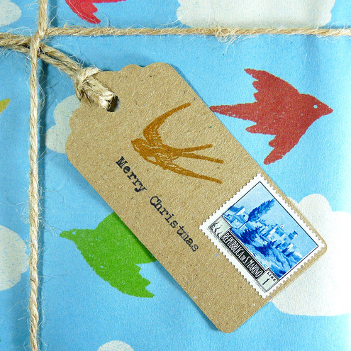 Christmas gift tags - postage stamps with twine