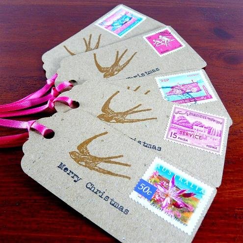 Christmas gift tags - postage stamps with matching pink ribbon