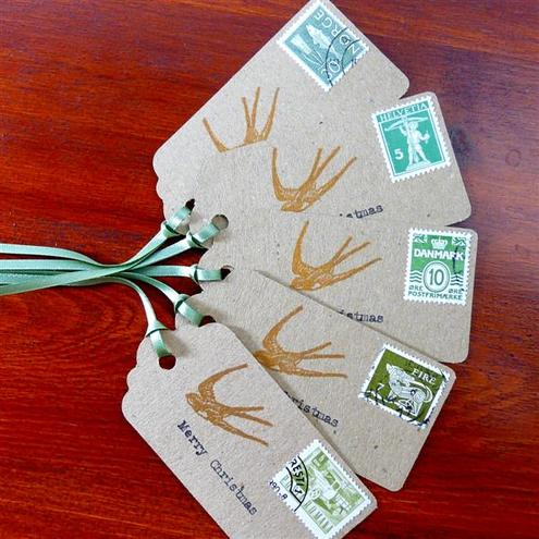 Christmas gift tags - postage stamps with matching green ribbon