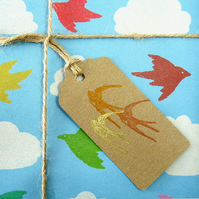 Gift tags x 5 - tricolour swallow