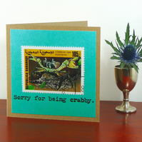 SALE: Greetings card - 'Sorry for being crabby'