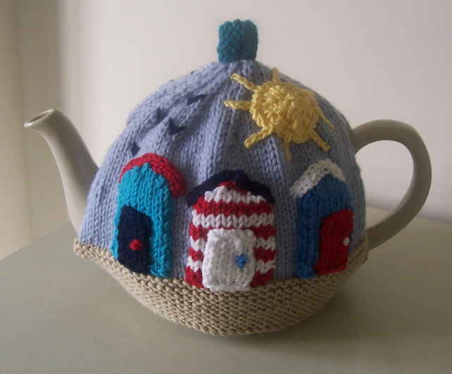 "Knitting Pattern for ""Sunny Seaside"" Tea Cosy"