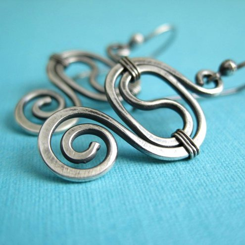 Sterling Silver Earrings Spiral Swirl Design Wirework Oxidised