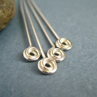 Sterling Silver Headpins Swirl