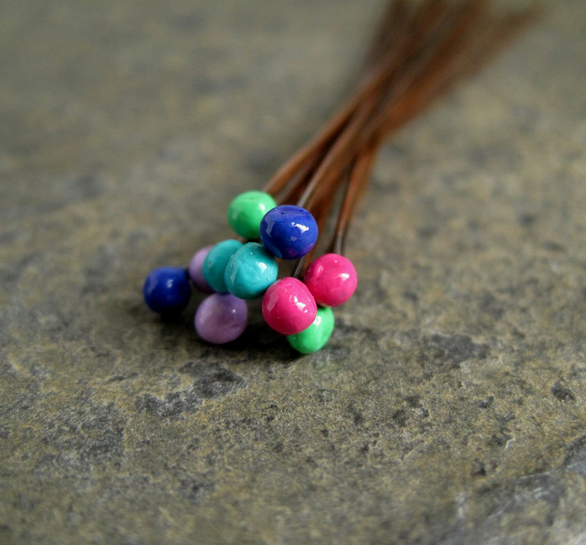 Copper Ball Headpins Mixed Colours