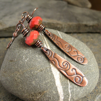Antique Copper Earrings, Wirework Bead Earrings