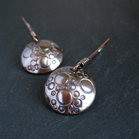 Copper Disc Earrings Handmade