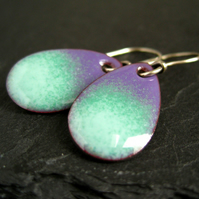 Enamel Earrings, Purple, Mint and Blue