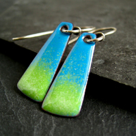 Enamel Earrings, Copper Enamel Earrings, Blue and Green
