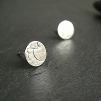 Silver Stud Earrings, Stamped Earrings