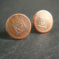 Copper Stud Earrings, Copper Disc Earrings