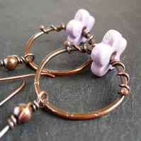 Copper Hoop Earrings, Flower Earrings