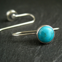 Turquoise Earrings, Sterling Silver Metalwork Earrings