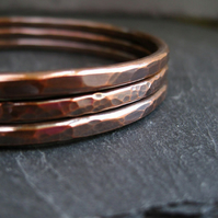 Copper Bangles, Copper Stacking Bracelets, Hammered Bangles 3.25mm