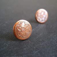 Stud Earrings, Flower Earrings, Copper Studs