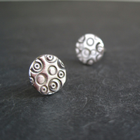 Sterling Silver Studs, Stamped Silver Earrings