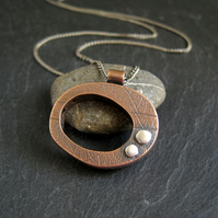 Hollow Form Copper Pendant Necklace