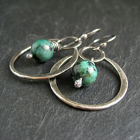 Sterling Silver Hoop Earrings with Turquoise Jasper
