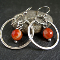 Sterling Silver Hoop Earrings with Orange Agate
