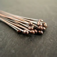 Antique Copper Ball Headpins 20g Oxidised