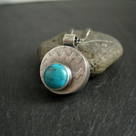 Turquoise Pendant, Sterling Silver Hollow Form Pendant Necklace