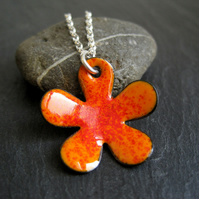 RESERVED FOR SARA - Orange Enamel Flower Pendant