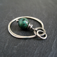 RESERVED FOR NIC - Sterling Silver Hoop Pendant with Turquoise Jasper