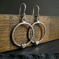 Sterling Silver Hoop Earrings with Silver Heart, Silver Hoops