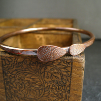 Copper Bangle, Copper Leaf Bracelet, Medium