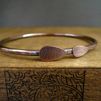 Copper Bangle, Etched Copper Bracelet, Large