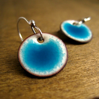 Reserved for Vanessa - Turquoise Enamel Disc Earrings