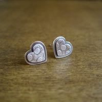 Silver Heart Earrings, Etched Earrings