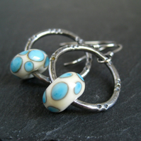 Sterling Silver Hoop Earrings with Lampwork Bead