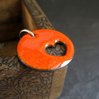 Heart Pendant in Orange Enamel with Sterling Silver Chain
