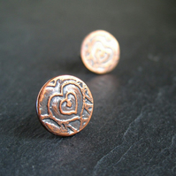 Etched Copper Heart Earrings, Stud Earrings