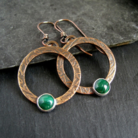 Copper Hoop Earrings, Malachite Earrings