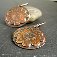 Copper Earrings, Flower Earrings